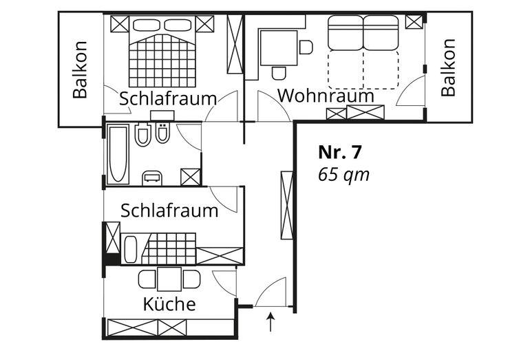 Grundriss Fewo 7 Appartement Huber